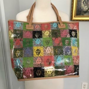 Anne Klein large plastic tote with leather trim